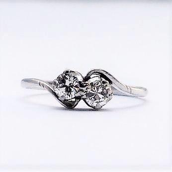 White Gold Two Stone Diamond Twist Ring