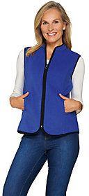As Is Susan Graver Weekend Polar Fleece Zip Front Vest