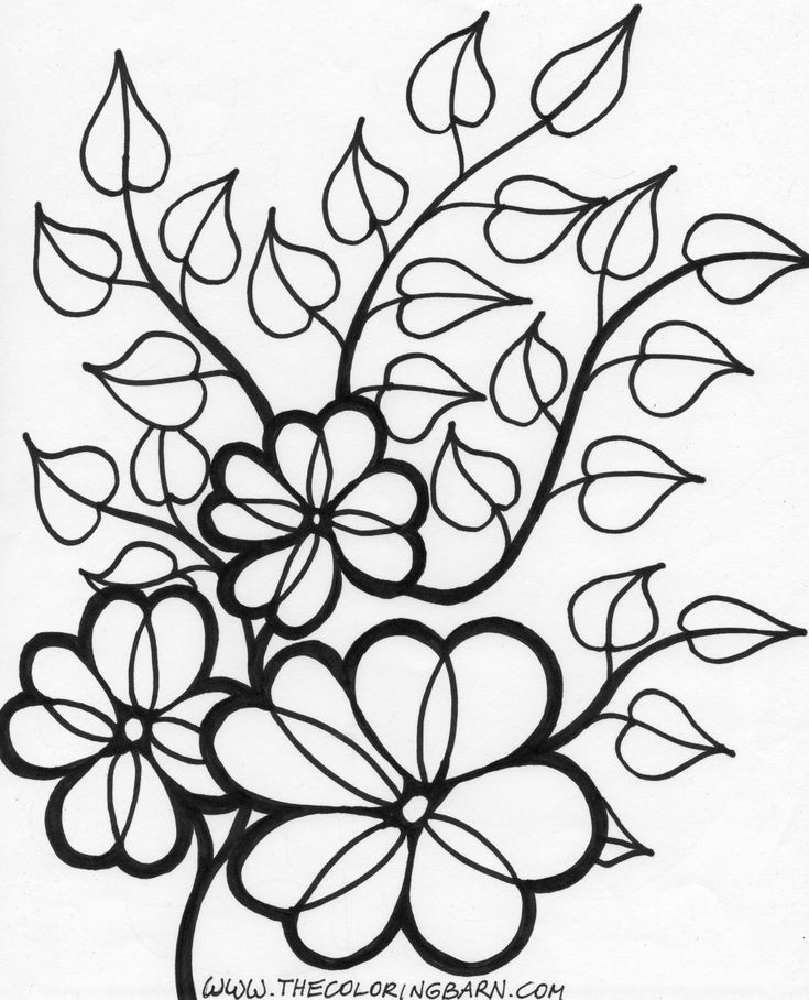 coloring pages for kids wild flowers | flower vines coloring page wild printable | Free Coloring ...