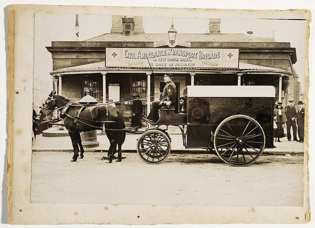 Horsedrawn ambulance outside Civil Ambulance & Transport Brigade headquarters, corner of George & Pitt Sts opposite the Benevolent Asylum, now Central Square, c. 1900, by unknown photographer
