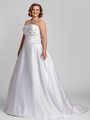 Lanting Bride® A-Linie Extraklein / Übergrößen Hochzeitskleid - Klassisch & Zeitlos / Glamurös & Dramatisch Hof Schleppe Trägerlos Satin
