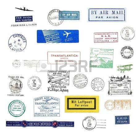airmail: Francobolli d'epoca e le etichette di posta aerea di tutto il mondo