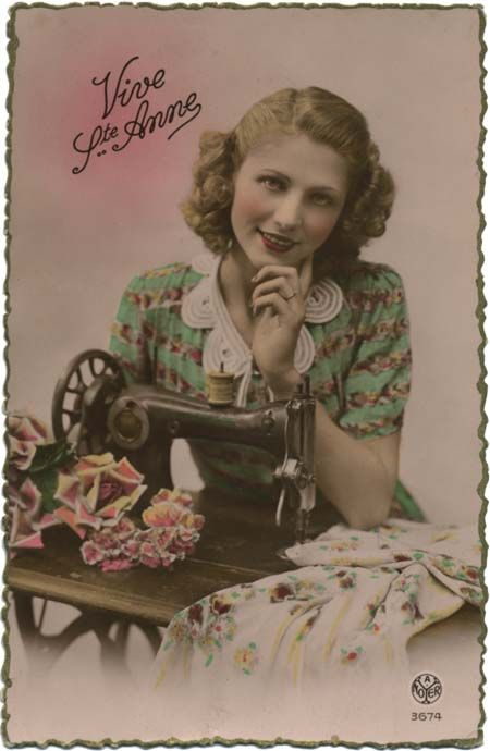 Vintage Sewing Postcard Lovely Lady Posing With Sewing Machine My Vintage Sewing Postcards
