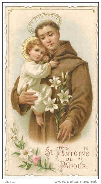 """IMAGE PIEUSE RELIGIEUSE HOLY CARD  : """"  Saint Antoine de Padoue - Prière De L'église """""""