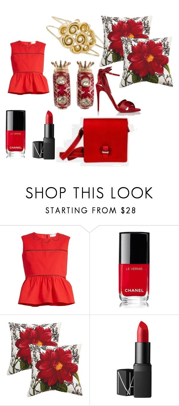 """""""Gold, diamonds and red color fashion"""" by capolavori on Polyvore featuring RED Valentino, Chanel, Plantation Patterns, NARS Cosmetics e Christian Louboutin"""