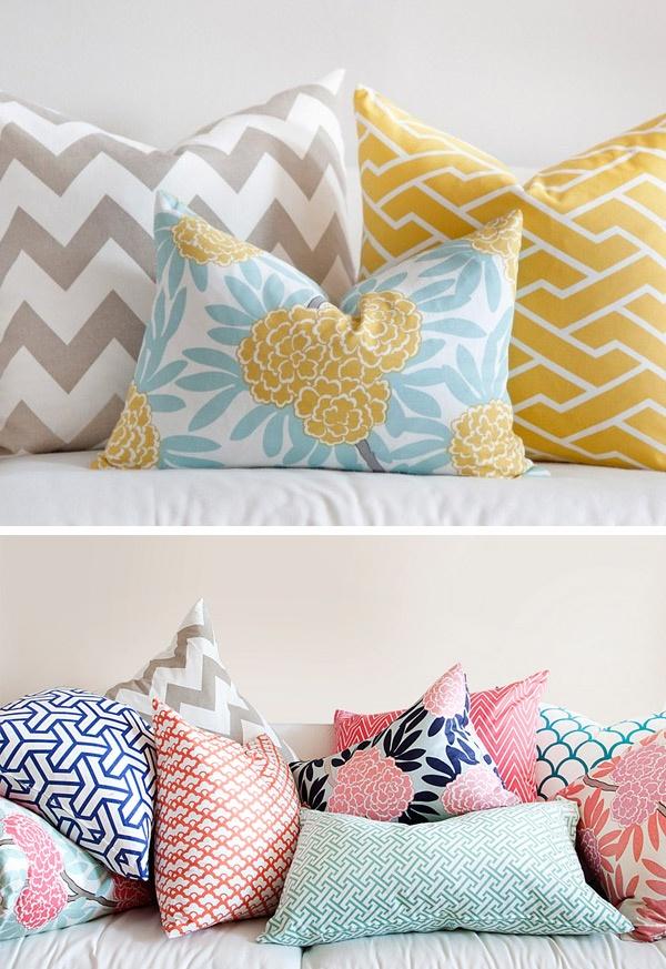 Caitlin Wilson Textiles pretty pillows chevron yellow tan nude blue floral