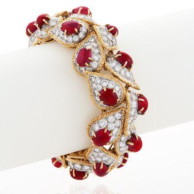 Mid Century Platinum, Gold, Ruby, and Diamond Bracelet by Van Cleef & Arpels