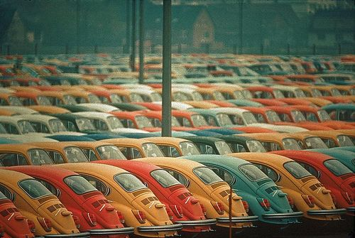 fuckyeahvintage-retro:  Newly built Volks ready for shipping. Germany, 1972 © Thomas Hoepker