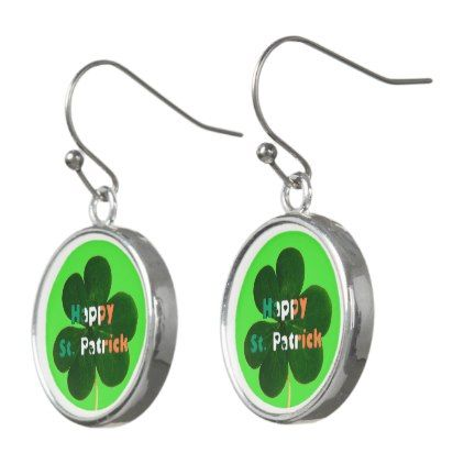 Happy St. Patrick Irish Flag Colors Shamrock Green Earrings - jewelry jewellery unique special diy gift present