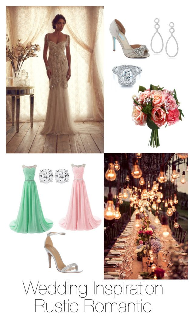 Wedding Inspiration - Rustic Romantic by sapphirereport on Polyvore featuring polyvore, fashion, style, Betsey Johnson, Jane Norman, CARAT*, Dana Rebecca Designs, Reception and rustic