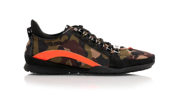 Military-print fabric sneakers with ergonomically shaped rubber soles by Dsquared