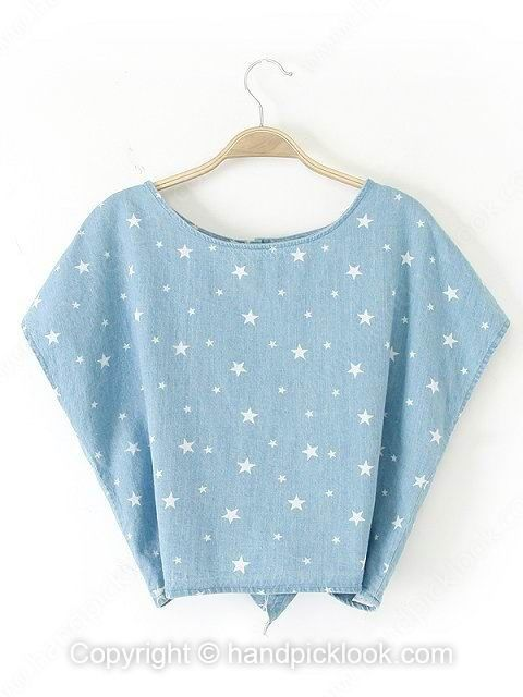 Blue Round Neck Star Print Batwing T-Shirt -$26.39