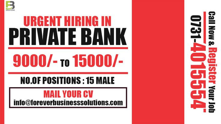 Private bank sector job with HUGE OPENINGS Job Detail Location: Indore Min Salary: Rs. 9000/- Max Salary: Rs. 15000/- Job Description Recruitment 2016 New Branches Opening Indore.  Service Liability : All over Indore Eligibility Standards:  1. The maximum age of the applying person should not go beyond 45 years.  2. The minimum qualification to apply for the job is Graduation Can apply candidates.