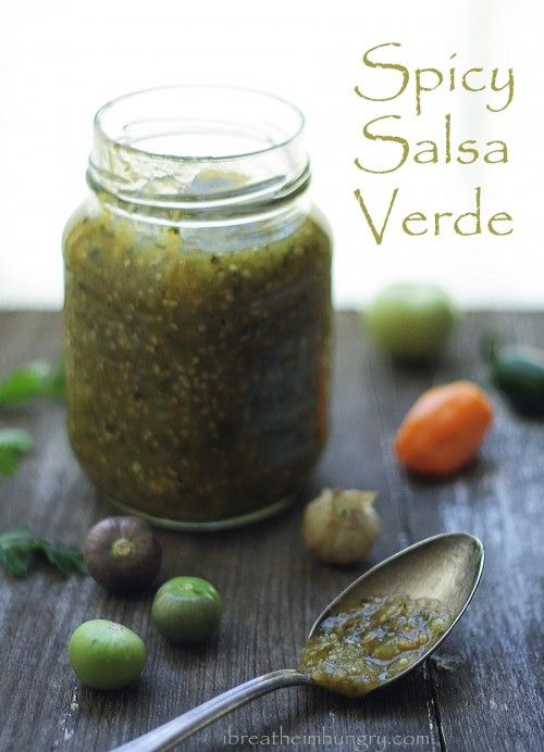 Spicy salsa verde recipe from ibreatheimhungry.com. Sounds divine and so simple to make. ( gf and vegan ) can also be frozen for up to 6 months!