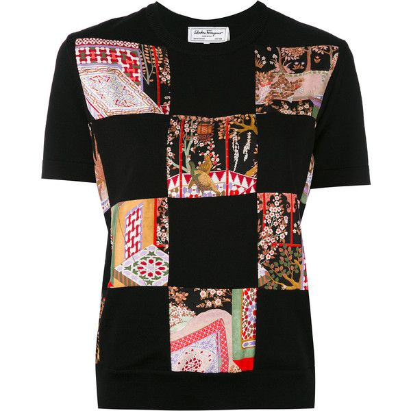 Salvatore Ferragamo patchwork jersey T-shirt (£790) ❤ liked on Polyvore featuring tops, t-shirts, black, jersey tee, multi color t shirts, print t shirts, pattern t shirt and slim fitted t shirts