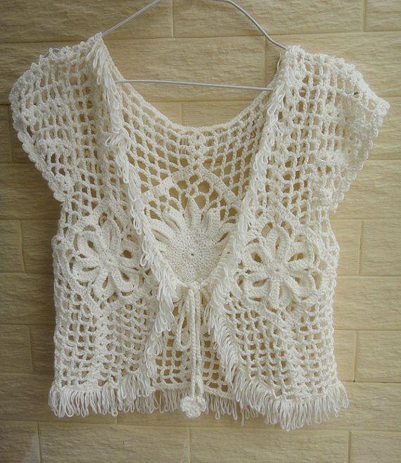 BOHO HIPPIE crochet lace bolero fringe jacket, shrugs boleros beach cover up