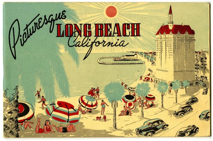 Long beach ca vintage postcard retro postcard villa