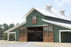 Morton horse barn in Bluffton, SC-this is what my pole barn will look like except is it red tin :)!!