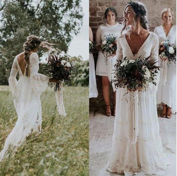 Plus Size Boho Garden Bridal Gowns Bohemian Wedding Dresses