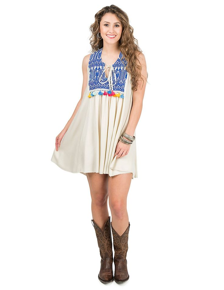 Judith March Cream with Aztec Embroidered Yokes with Tassels Sleeveless Dress | Cavender's