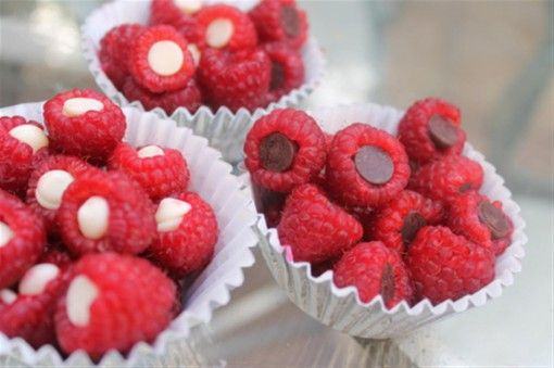 Chocolate chip filled raspberries = genius! And how cute!