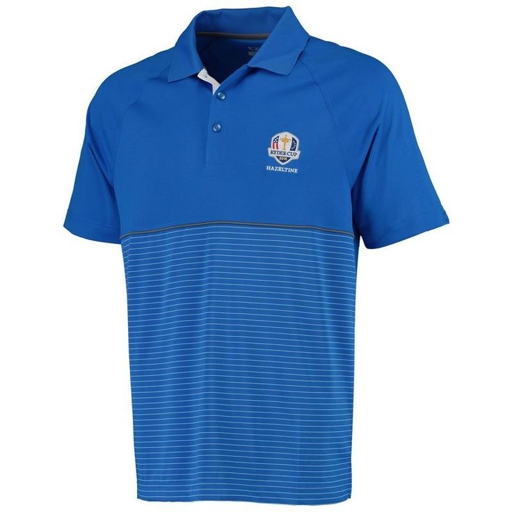 2016 Ryder Cup Cutter & Buck Junction Stripe Hybrid DryTec Polo - Blue