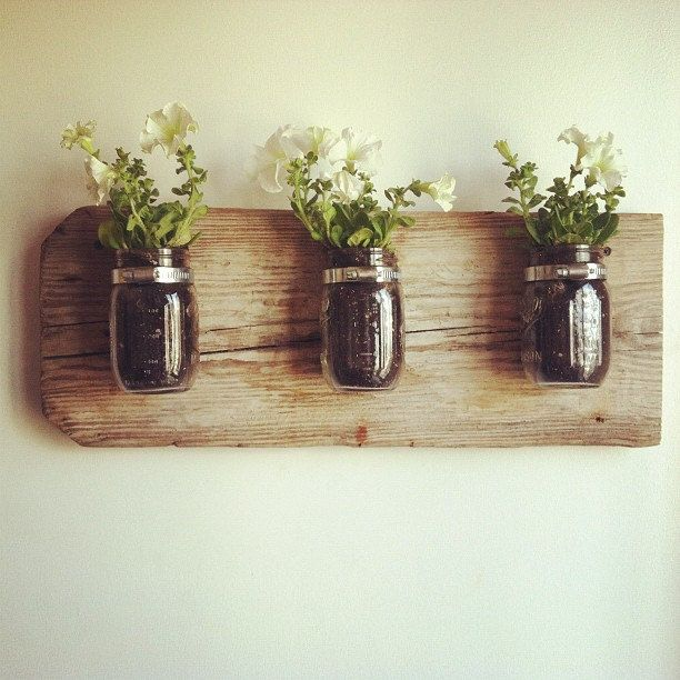 Mason Jar Wall Planter by chateaugerard on Etsy. $49.00, via Etsy.