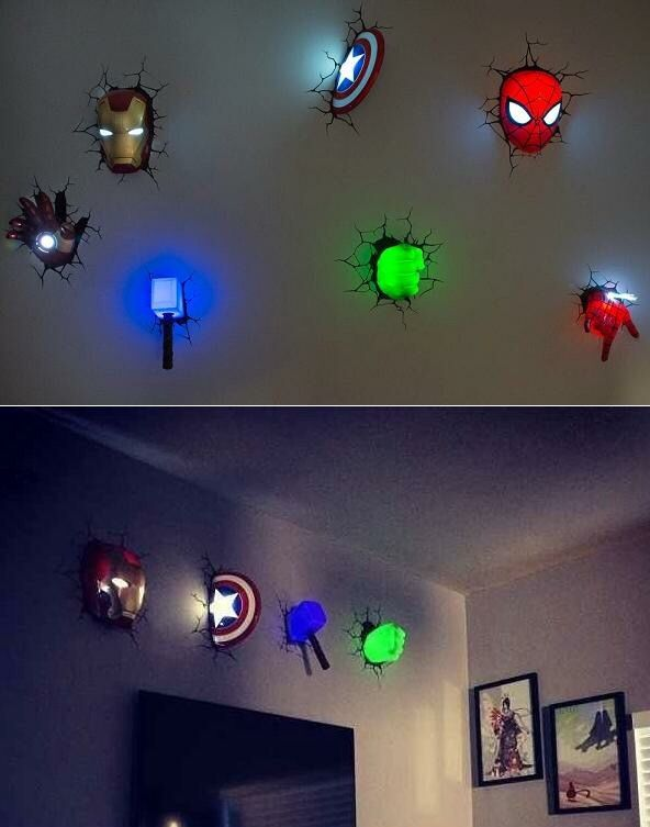 AMAZING #Marvel 3D wall lights for a #superhero themed room. I know my boy is gonna love them!