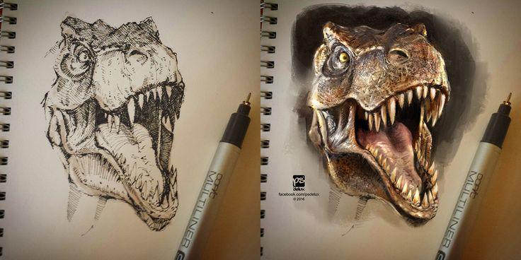 T-Rex sketch on paper + PS colors by psdeluxe.deviantart.com on @DeviantArt