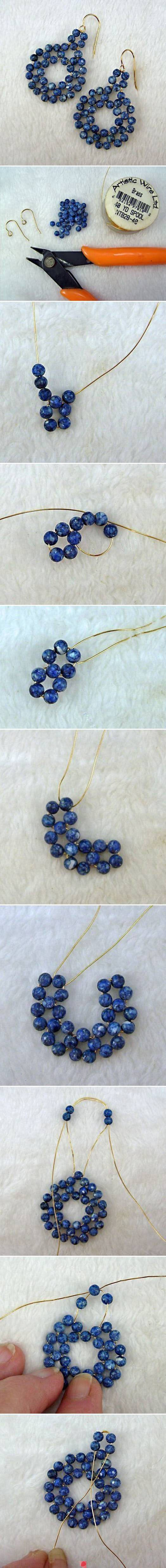 DIY with pictures - earrings here ... how about a necklace with several linked?? #Beading #Jewelry #Tutorials