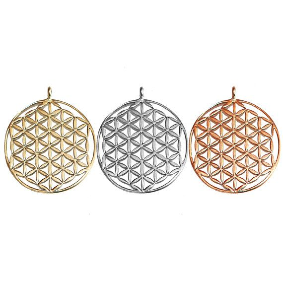 Flower of Life Pendant - Sacred Geometry- Festival Jewelry - Yoga Jewelry- Yogi Jewelry -Brass, White Brass, Copper - Feather Tribe