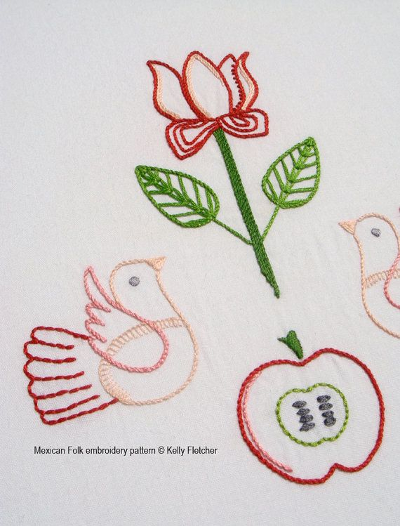 Mexican folk hand embroidery pattern by kfneedleworkdesign