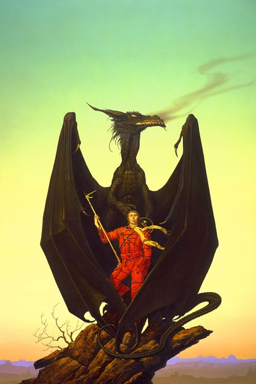 Michael Whelan:  http://www.michaelwhelan.com/ This was used on a science fiction magazine in addition to use as a book cover.