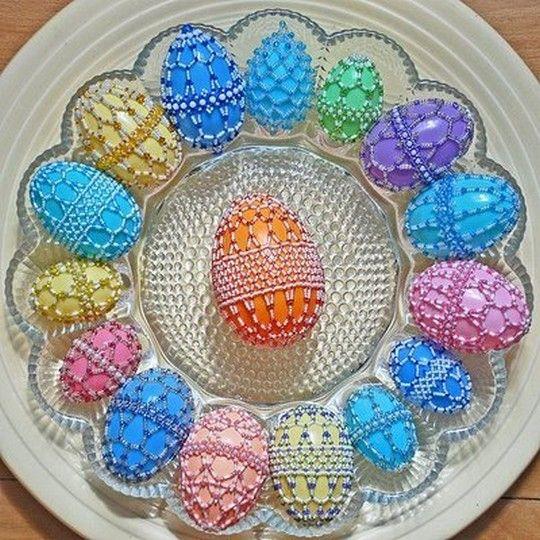 Beautiful Beaded Netting over Plastic Eggs