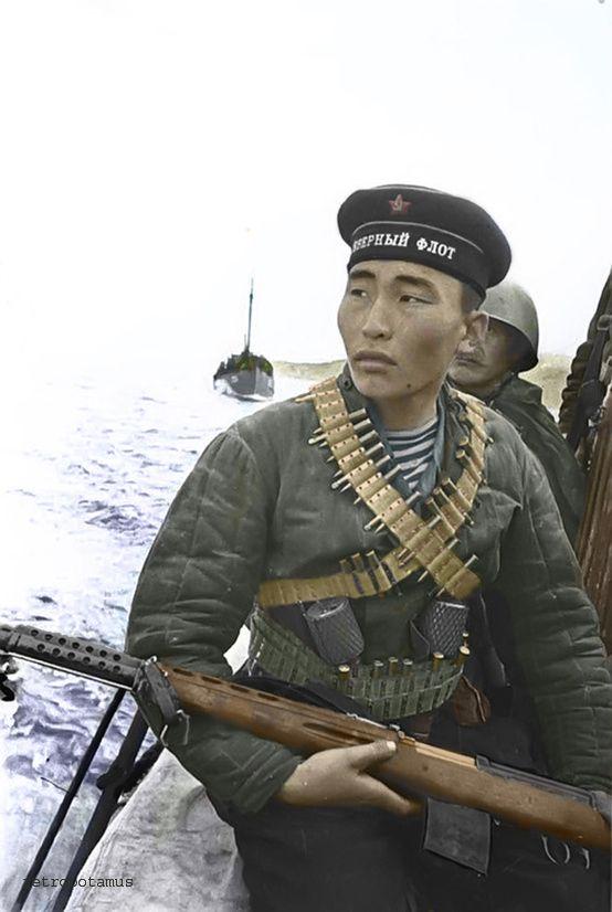Soviet Marine sniper Rad Ayusheyev of the 63th Marine Division, 1942. -