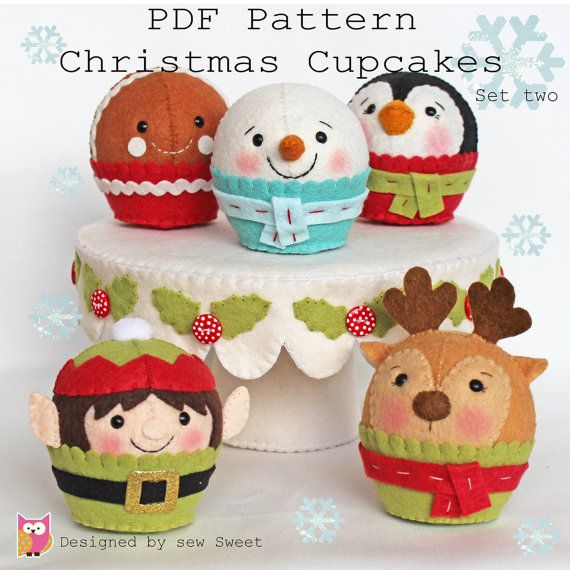 Christmas cupcakes set two PDF pattern felt cake by sewsweetuk
