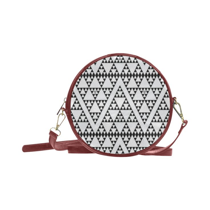 triangles in triangles pattern Round Sling Bag (Model 1647)