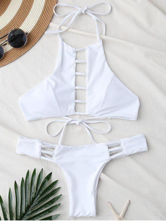 Padded Ladded Cut Bikini Set - WHITE L Mobile