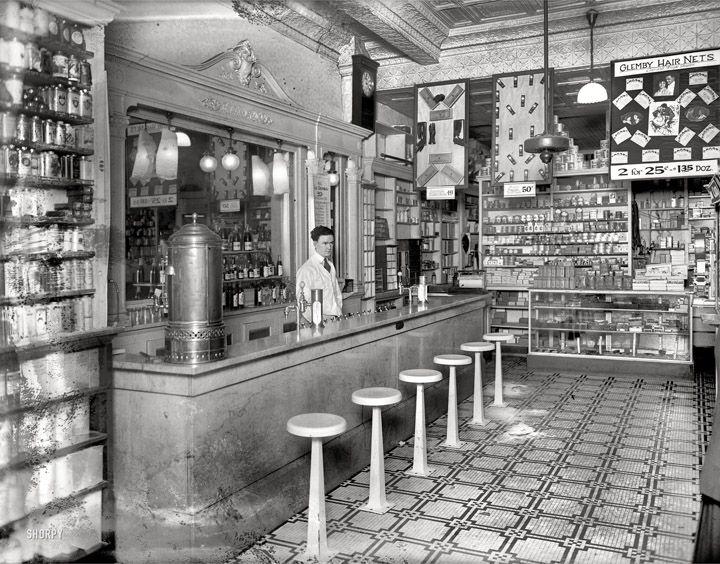 "Washington, D.C., circa 1920. Interior of ""People's Drug Store"", 14th & U Streets. http://www.shorpy.com/node/12809?size=_original"