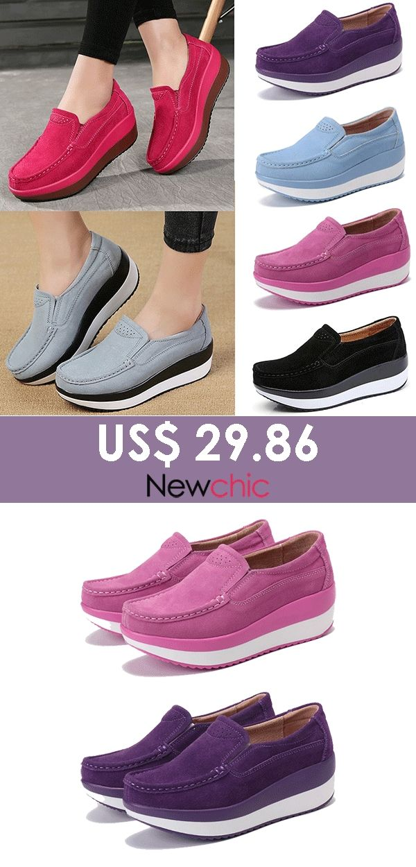 bdabcd61b7d7  US  29.86 Large Size Rocker Sole Suede Slip On Casual Shoes. casualshoes   womenoutfits  fashionshoes