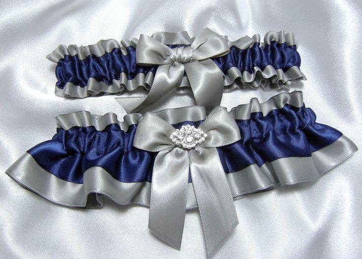 Grey And Blue Wedding | Navy Blue and Platinum / Gray Wedding Garter Set - Embellished w ...