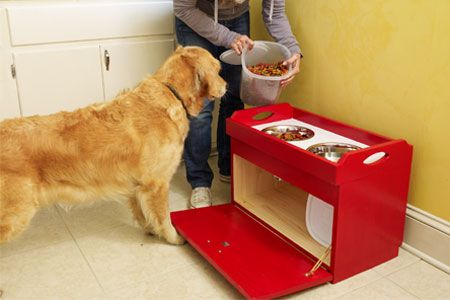 DIY Raised dog bowl with storage.