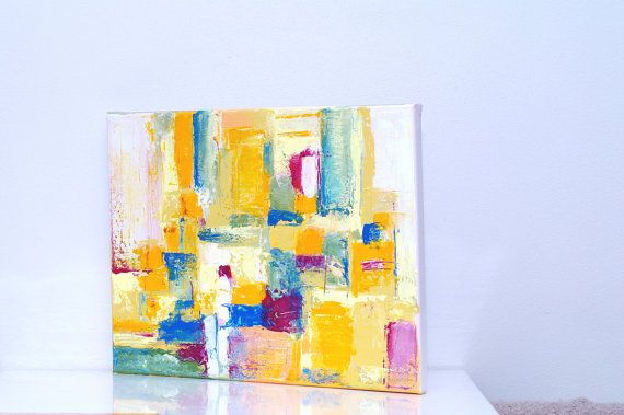 Contemporary abstract canvas art - Yellow geometric modern painting on canvas Yellow artwork abstract impressionist painting Here and there is painted