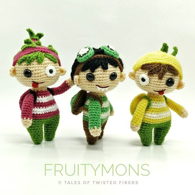 Say hello to Dragon Fruit, Kiwi & Lemon, collectively known as the FRUITYMONS! They carry vitamins in their tiny backpacks and sneak them into your food when you're not looking. So you see, they're actually the good guys.   FruityMons is my second entry for the monster themed amigurumi design contest hosted by @amigurumipatterns.  #amigurumi #crochet #fruitymons #monster #amigurumimonster #amigurumonster #toydesign #characterdesign #contest #twistedfibers #talesoftwistedfibers
