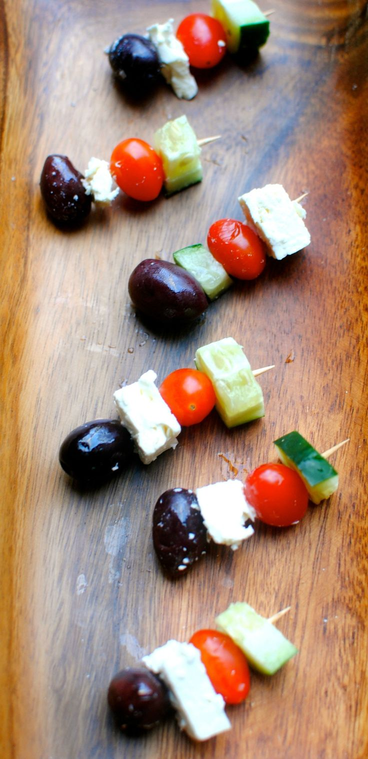 These Greek Salad Skewers would be a great light appetizer for Super Bowl celebrations!