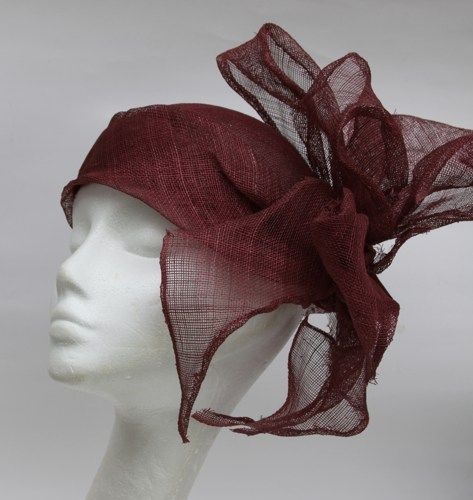 FARFALLA Sinnamay Hat With Bow Color-Red HiyUh