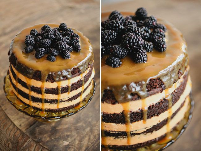 Gorgeous caramel cake with blueberries on top   Styling + decor by Cedarwood Weddings, Photography by Kristyn Hogan