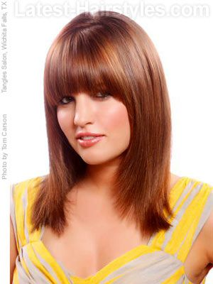Straight Bangs - A very geometrically rounded bang that is contoured to the face. Starting from the very top of each cheek bone. Creating a dramatic bowed shape, similar to a rainbow.