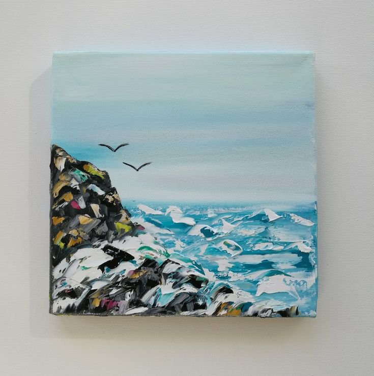 A speed painting of a shoreline. Birds, rocks and waves. Painted with water soluble oil paint.