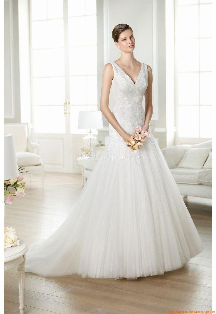 V-neck A-linie Bodenlang Preiswerte Brautkleider 2014 aus Softnetz mit Applikation